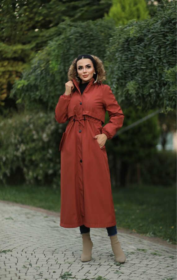 Hijab parka , imperméable orange avec doublure en fourrure