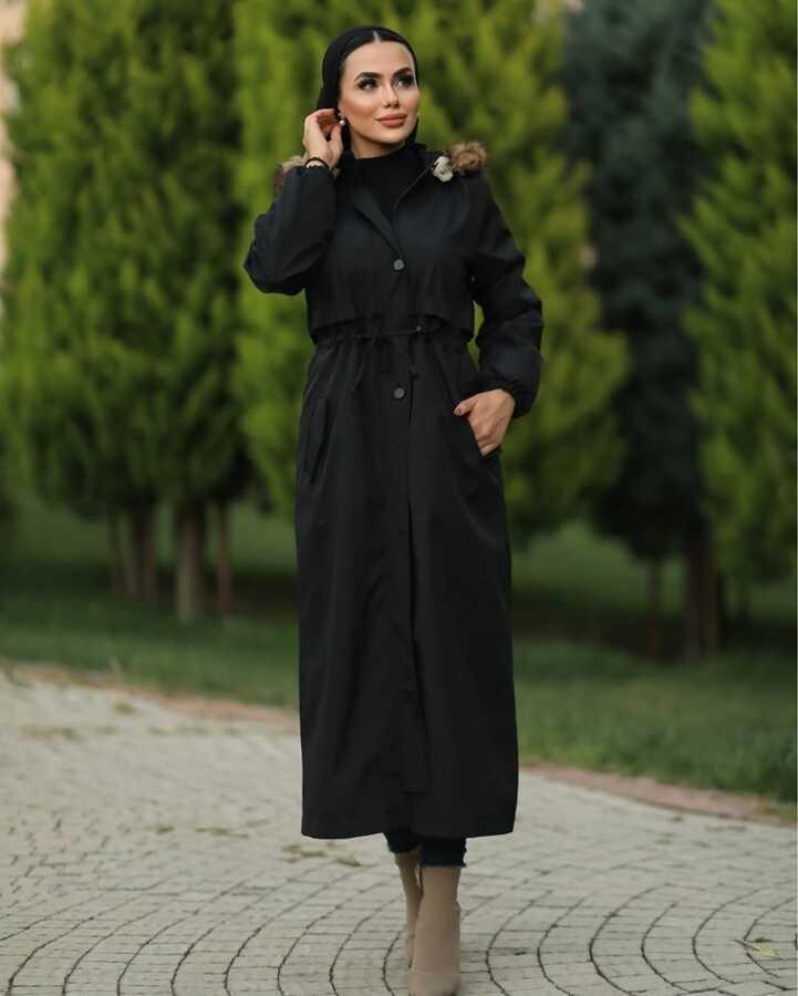Hijab parka , imperméable noir avec doublure en fourrure