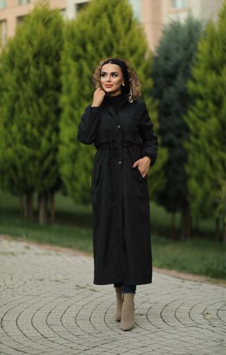 Hijab parka , imperméable noir avec doublure en fourrure - Thumbnail