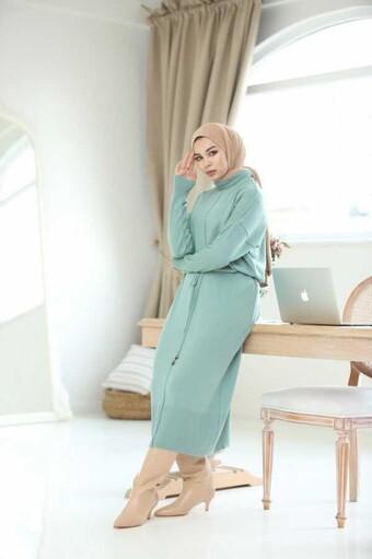 İp Kemerli Tesettür Elbise İndigo - Thumbnail