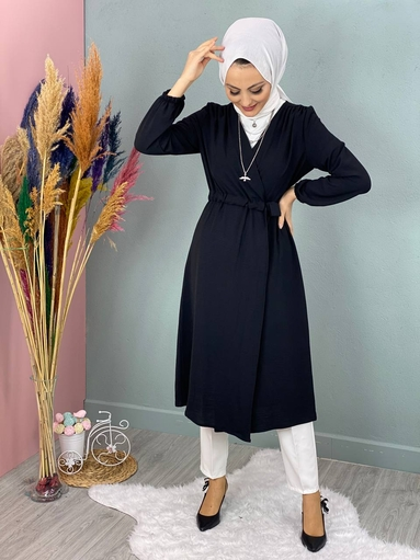 Jacke Hijab mit Taille Navy schwarz - Thumbnail