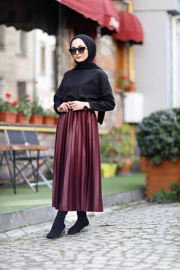Jupe Hijab Plissée Bordeaux