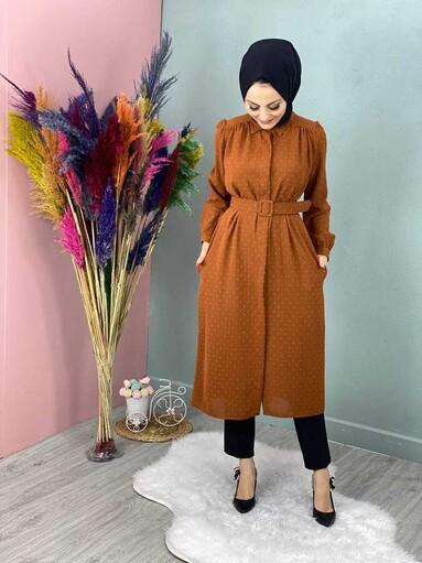 Pompon Hijab Tunika Jacke Fliese - Thumbnail