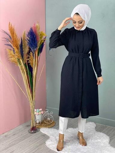 Pompon Hijab Tunika Jacke Schwarz - Thumbnail