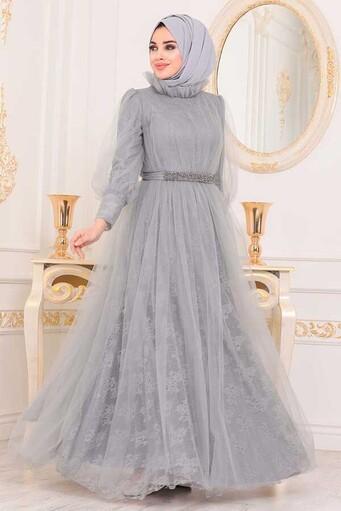Tesettur Paris - Hijab Robe de soirée grise en dentelle brodée