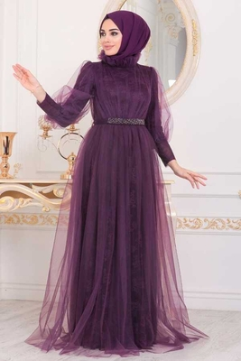 Robe De Soirée Hijab Brodée En Dentelle De Tulle Prune - Thumbnail