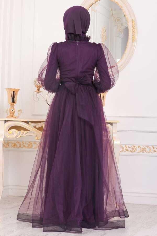 Robe De Soirée Hijab Brodée En Dentelle De Tulle Prune