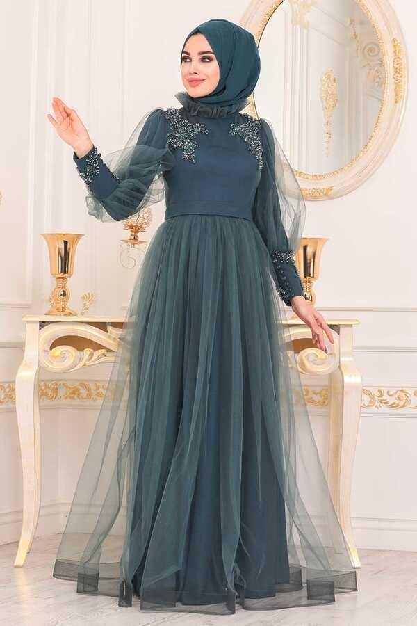 Robe De Soirée Hijab Détail Tulle Vert