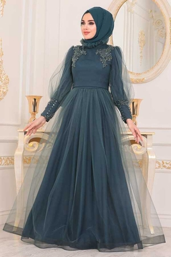 Robe De Soirée Hijab Détail Tulle Vert - Thumbnail