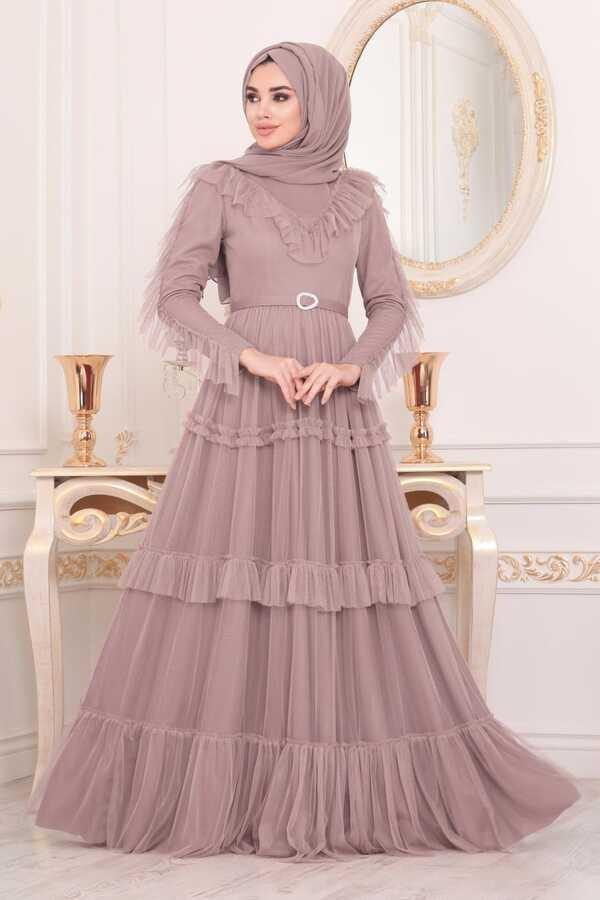 Robe de Soirée Hijab Détail Volants Foncé Poudre