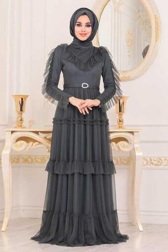 Robe de Soirée Hijab Détail Volants Gris Foncé - Thumbnail