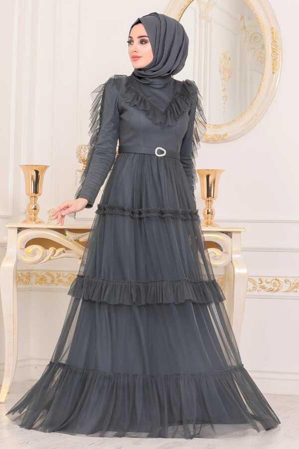 Robe de Soirée Hijab Détail Volants Gris Foncé
