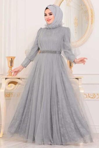 Robe De Soirée Hijab Brodée En Dentelle De Tulle Gris - Thumbnail