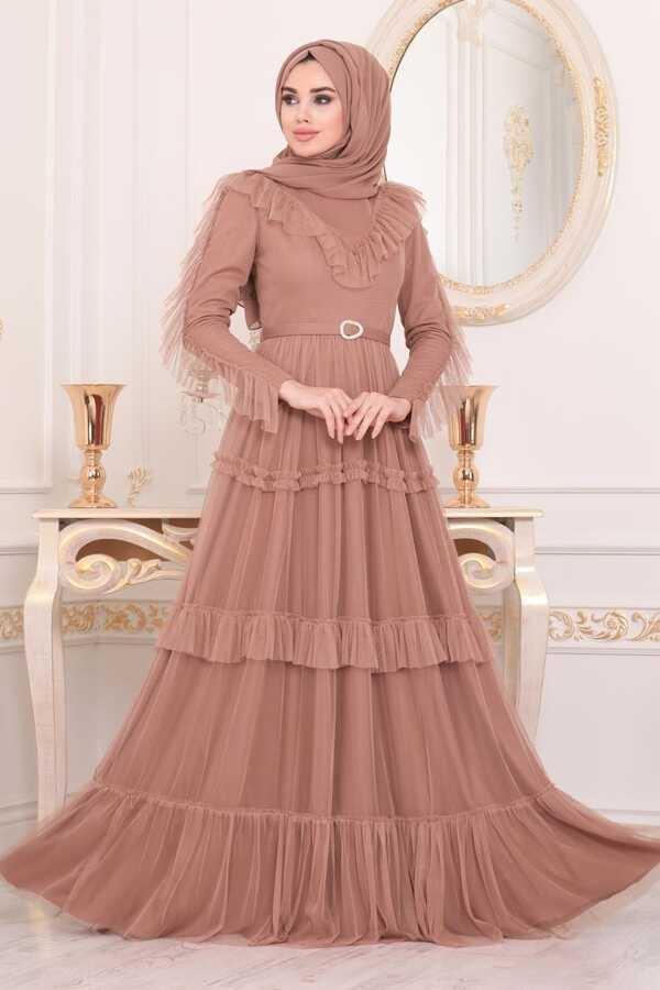 Robe de Soirée Hijab Détail Volants Foncé Caramel