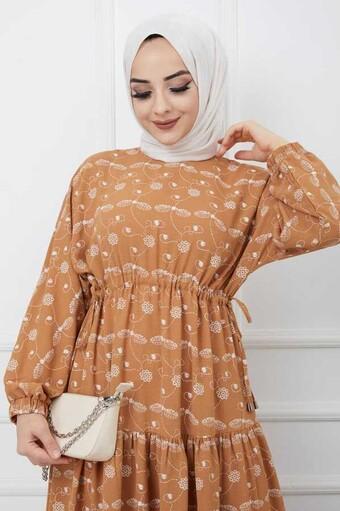 Robe Hijab İmprimée Tuile - Thumbnail