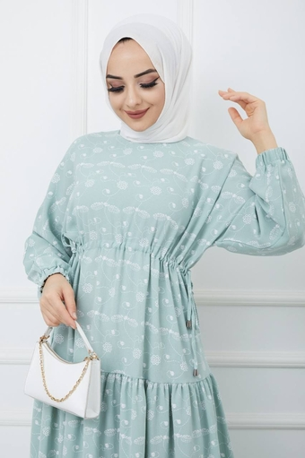 Robe Hijab İmprimée Vert d'eau - Thumbnail