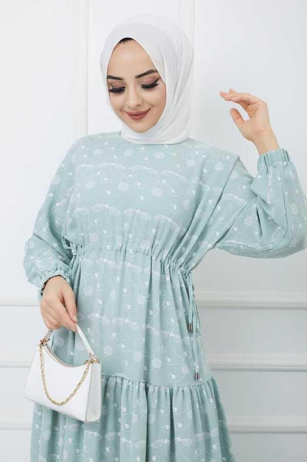 Robe Hijab İmprimée Vert d'eau