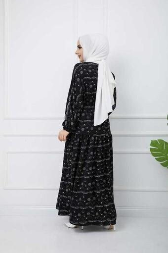 Robe Hijab İmprimée Noir - Thumbnail