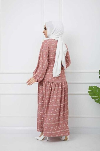 Robe Hijab İmprimée Poudre - Thumbnail