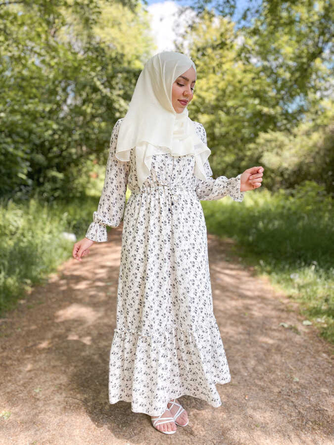 Robe Voile Taille Froncée Blanc
