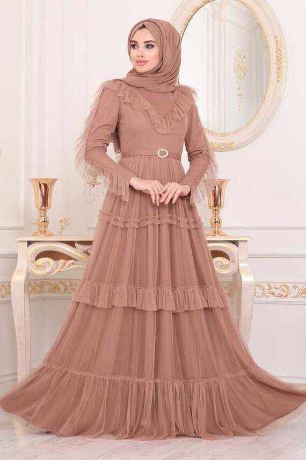 Rüschen Detail Hijab Abendkleid Dark Caramel