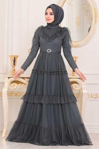 Rüschen Detailliertes Hijab Abendkleid Dunkelgrau - Thumbnail