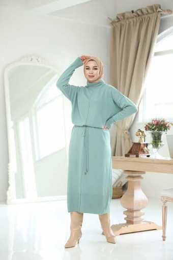 Seil Gürtel Hijab Kleid Indigo - Thumbnail
