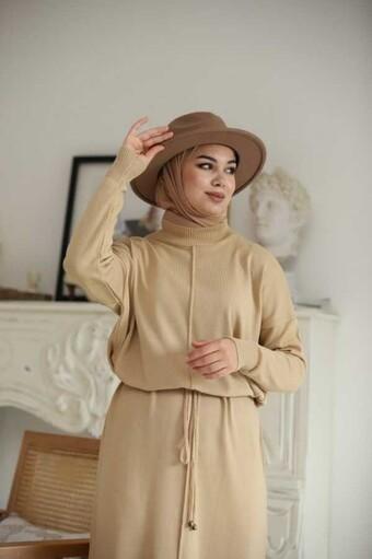 Seilgürtel Hijab Kleid Beige - Thumbnail