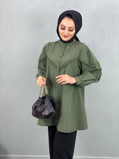 Spitze Hijab Shirt Khaki - Thumbnail
