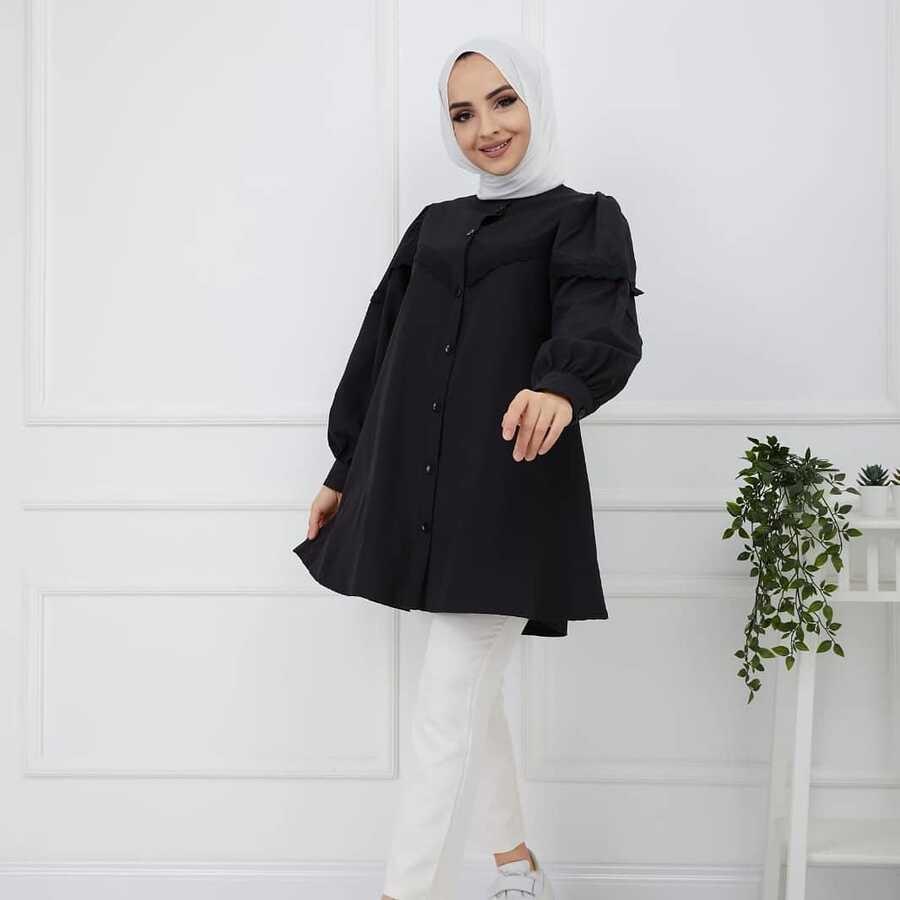 Spitze Hijab Shirt Schwarz