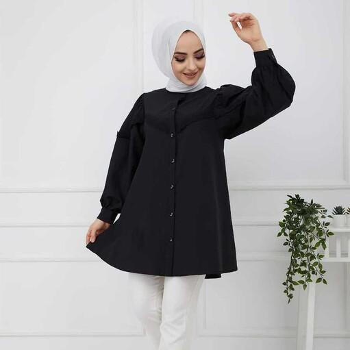 Spitze Hijab Shirt Schwarz - Thumbnail