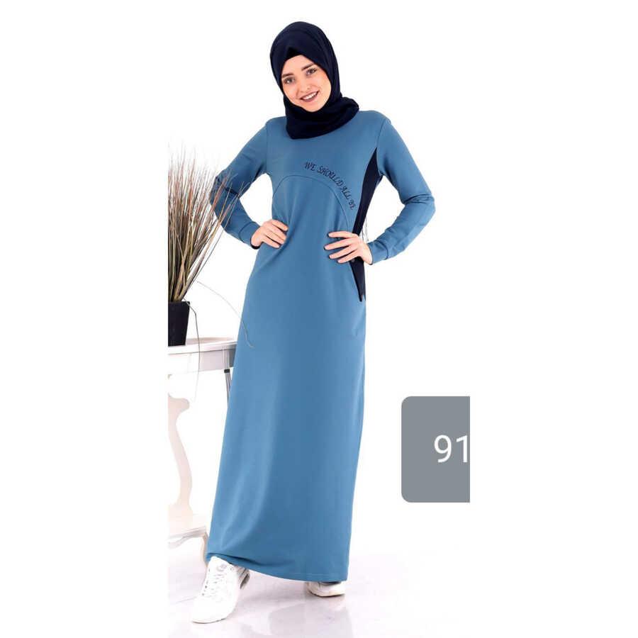 Spor Tesettür Elbise Mavi