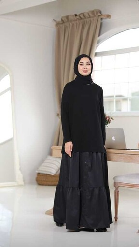 Sweatshirt Elbise Siyah - Thumbnail