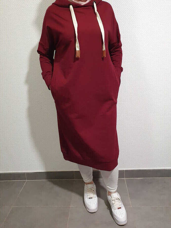 Sweatshirt Tesettür Tunik Bordo