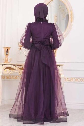 Tüllspitze Bestickt Hijab Abendkleid Pflaume - Thumbnail