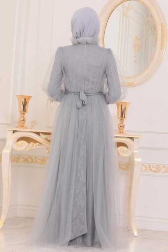 Tüllspitze Besticktes Hijab Abendkleid Grau - Thumbnail