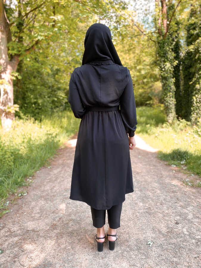 Tunique Hijab Ceinturée Noir