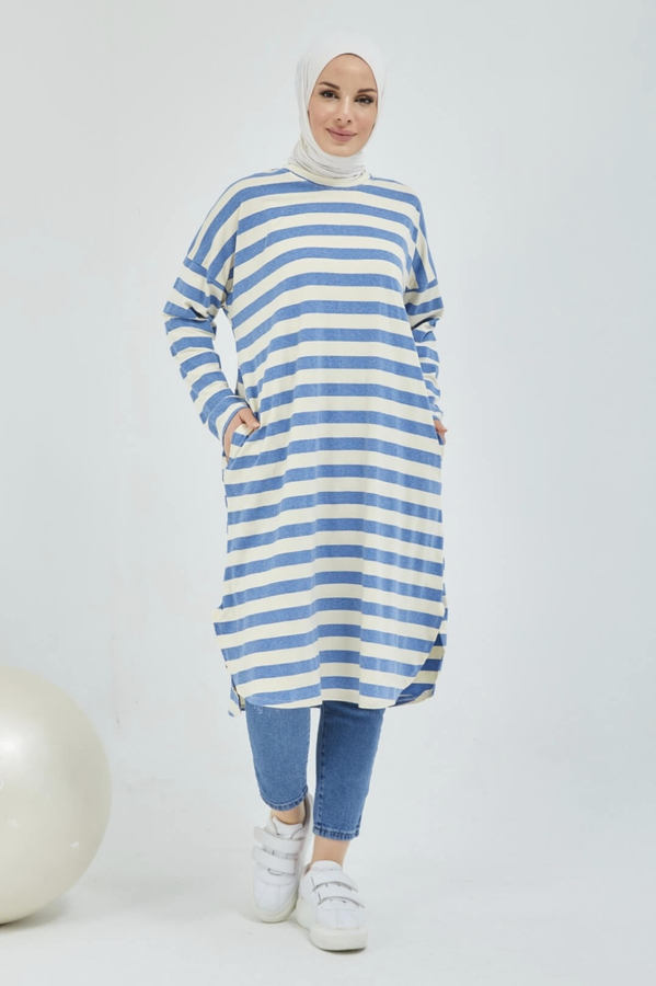 Tunique Hijab Rayée Avec Poche Bleu