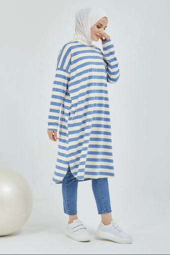 Tunique Hijab Rayée Avec Poche Bleu - Thumbnail