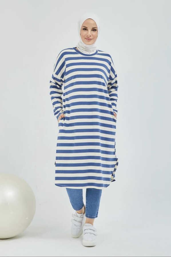 Tunique Hijab Rayée Avec Poche Bleu Marın