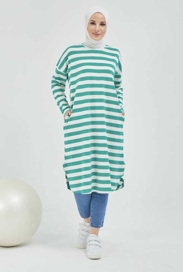 Tunique Hijab Rayée Avec Poche Vert