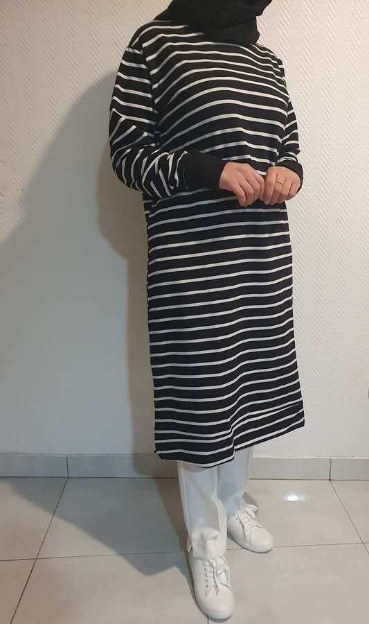 Tunique Sweat-shirt Rayé Noir