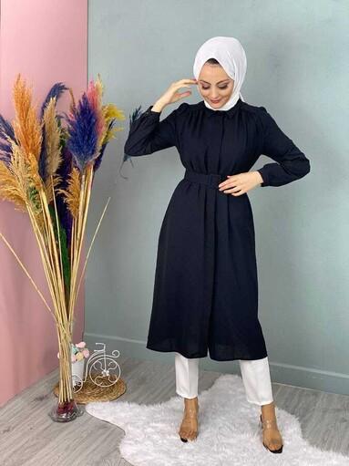 Veste Hijab Tunique à Pompon Noir - Thumbnail