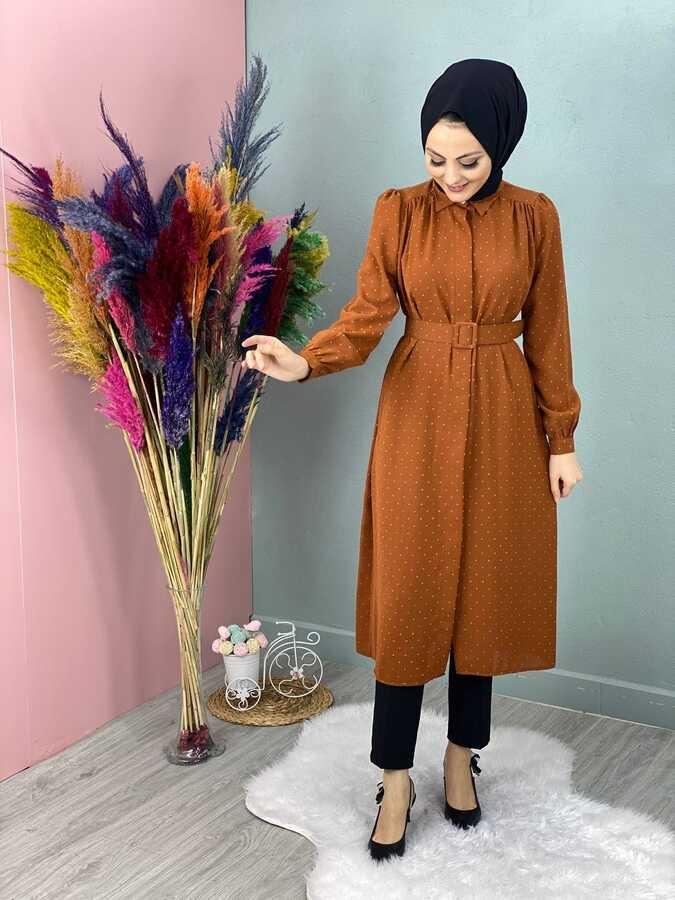 Veste Hijab Tunique à Pompon Tuile