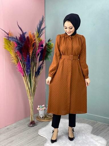 Veste Hijab Tunique à Pompon Tuile - Thumbnail